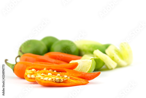 Foto Murales Fresh herbs and spices (chili, lemon, cucumber)