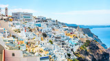 Panoramic view of the town of Fira in Santorini, Greece(Day)