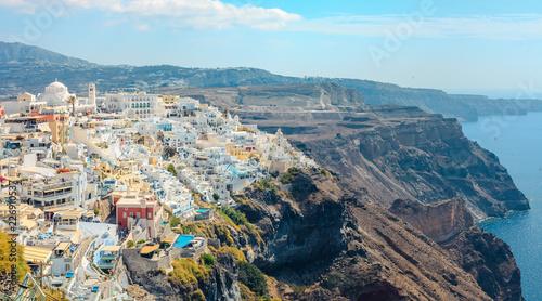 Panoramic landscape and cityscape of Santorini Greece