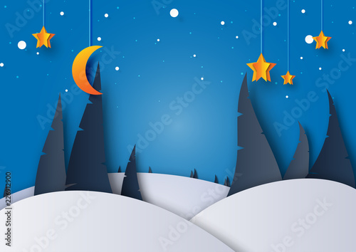 Night winter season landscape with pine tree,moon and stars for merry christmas and happy new year background paper art style.Vector illustration. © Man As Thep
