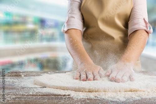 Foto Murales Pizza making bakery dough flour chef fresh