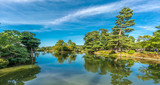 Panoramic view of Kasumigaike pond. Horai island (Horai-shima) at Kenrokuen Garden