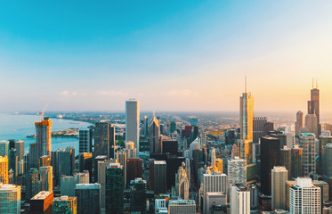 Chicago cityscape skyline toward sunset aerial view