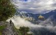 Blue cloudy sky above the ruins of Machu Picchu in Peru