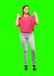 """Leinwanddruck Bild - young woman full body. with a proud, happy and confident expression; smiling and sure of success, pointing to one's self with both hands, giving an """"achiever"""" look."""