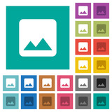 Single image square flat multi colored icons