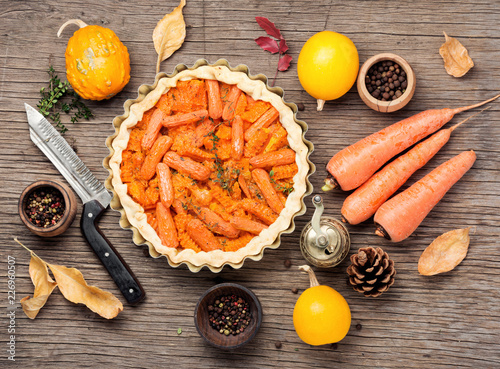 Pie with carrots and pumpkin - 226960507