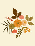 Floral arrangement for greeting cards