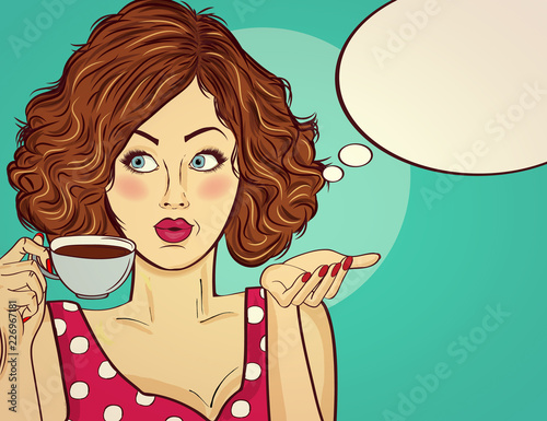 Sexy pop art woman with coffee cup - 226967181