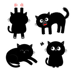 Cat set. Black kitten. Nail claw scratch, sitting, screaming, sleeping, looking at butterfly. Cute cartoon funny character Baby pet collection White background Isolated Flat design