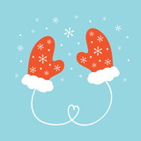 Cute cartoon vector illustration with couple of warm mittens, knitted gloves and snowflakes. - 226989111