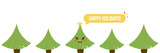 Happy winter holidays vector horizontal illustration, banner, header with cute christmas trees. - 226989140