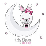 baby shower card girl. pretty bunny girl on the moon