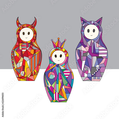 Abstract girls characters vector illustrations. Hand drawn nesting dolls set. Matryoshka in modern style. - 226996151