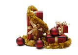 Christmas ornaments and gifts on a white background