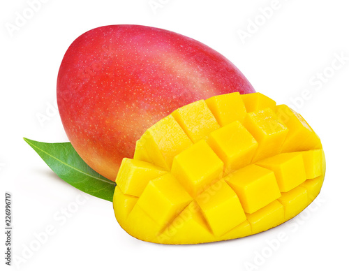 Foto Murales Red mango with leaves isolated on white background. Clipping path