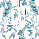 Floral vector seamless pattern with hand drawn lilies and leaves -  Kaiser's crown flowers.