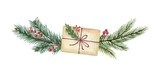Watercolor vector Christmas wreath with green fir branches and gift. - 227000747