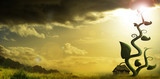 giant beanstalk reaching into sky next to cottage - 227001744