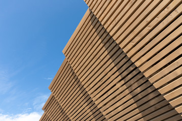 wooden roof against the blue sky