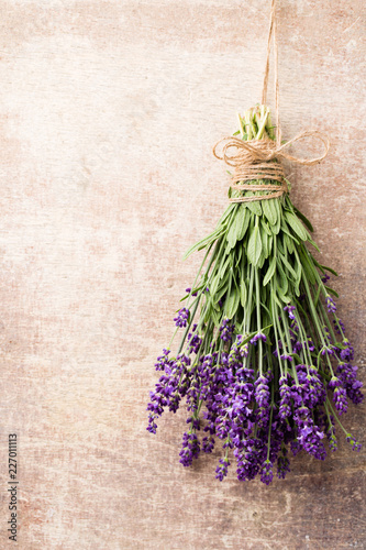 Lavender flowers, bouquet on rustic background, overhead. - 227011113