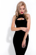 Fashion model on a white background, model witha a red lips, model in a black dress, little black dress