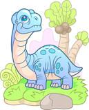 cartoon, cute dinosaur apatosaurus, funny illustration  - 227013966