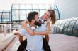 Quadro Portrait of young attractive happy fitness couple