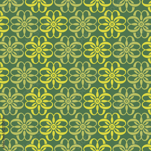 Ornamental seamless pattern on green background - 227024796