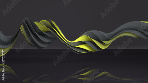 Yellow and gray twisted spiral shape 3D rendering