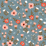 Trendy seamless floral  pattern. Fabric design with simple flowers. Vector cute repeated ditsy pattern for  fabric, wallpaper or wrap paper. - 227026386