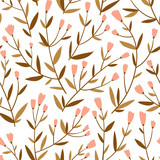 Repeated background with delicate sprigs and little flowers. Cute floral vector seamless pattern. Natural design for wedding invitation or fabric. - 227026587
