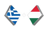 Europe football competition Greece vs Hungary. Vector illustration.