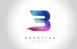 B Paintbrush Letter Design with Watercolor Brush Stroke and Modern Vibrant Colors - 227030581