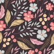 Floral seamless textured pattern  - 227037124