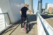 Guy with a bmx bike on the street.Street photo