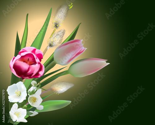bunch of spring flowers on dark background