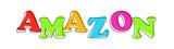 Amazon - multicolored cartoon text on white background