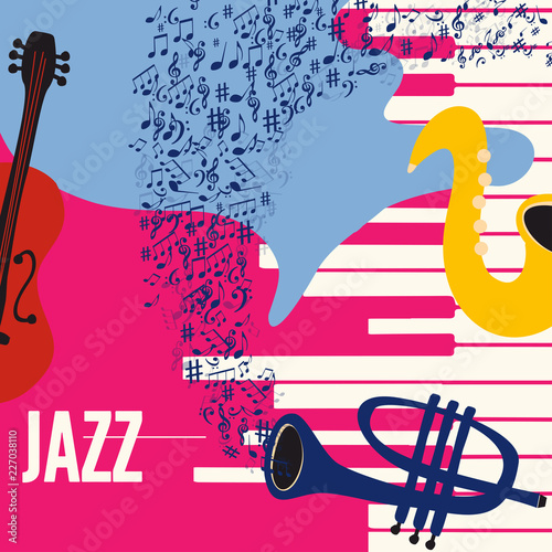 Music colorful background with music instruments flat vector illustration. Artistic music festival poster, live concert, creative design with saxophone, trumpet, violoncello, piano and music notes © abstract