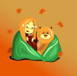 a girl and a bear in autumn - 227039371