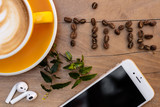 Coffee. Cappuccino. Good morning concept. Cup of coffee with milk - 227039544