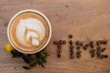 Coffee. Cappuccino. Good morning concept. Cup of coffee with milk - 227039713