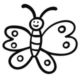 Doodle butterfly, cartoon happy bug isolated on white background. Vector illustration. - 227048543
