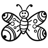 Doodle butterfly, cartoon happy bug isolated on white background. Vector illustration. - 227048579
