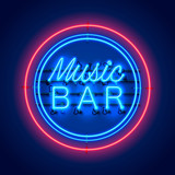 Neon music bar signboard on the red background. Vector illustration