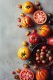 Fresh various colorful tomatoes