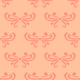 Pastel orange abstract damask seamless pattern of curls in retro style. Floral vintage background. Art nouveau style design. Vector illustration. - 227049939