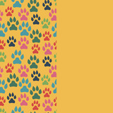 Card with dog track seamless pattern and empty space. Vector illustration. - 227050123