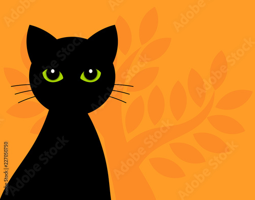 Black cat with green eyes halloween background - 227050750