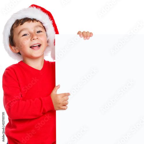 Foto Murales Kind Weihnachtsmann Nikolaus Weihnachten lachen Schild Textfreiraum Copyspace